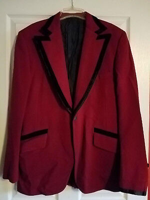 1970s Red Polyester Suit Jacket Mens Vintage Disco Era Blazer Sz 44L Velvet trim