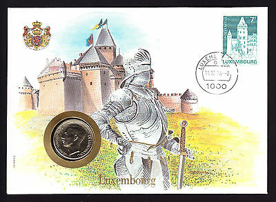 UN 1984 Numisbrief Luxembourg coin cover Knight Armour cachet Holenfels stamp