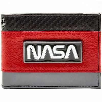 New Official Nasa Silver Badge Space Exploration Red Id & Card Bi-Fold Wallet