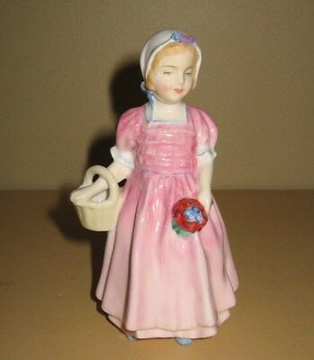 "Vintage Royal Doulton ""Tinkle Bell"" Figurine Pink Dress Flowers Basket 4.5"" Tall"
