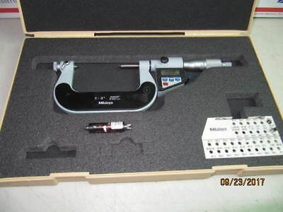 "MITUTOYO DIGITAL THREAD MICROMETER 2""-3"" No.326-713 WITH ANVIL 0.00005"" CNC"