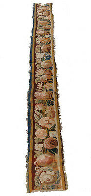 A Great Wool & Silk Tapestry Border With Large Flowers