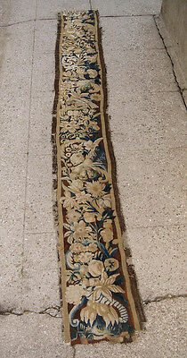 A Very Long Wool & Silk Tapestry Border With Flowers