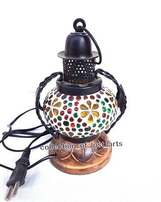 Vintage Old Antique Style Iron , Glass & Wood Electric Lantern Look Night Lamp