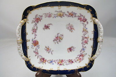 Antique Coalport Porcelain Basket Dish Handpainted Flowers
