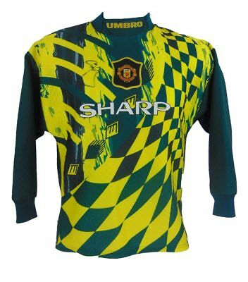 Peter Schmeichel Signed Manchester United Retro Football Shirt + Photo Proof
