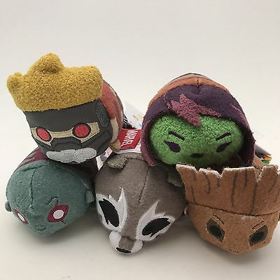 """Disney Store Guardians of the Galaxy Tsum Complete Set 5 Minis 3 1/2"""" Retired"""