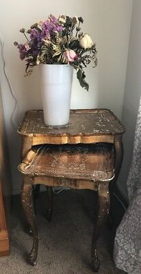 2 Shabby Chic Italy Florentine Pie Crust Hollywood Nesting Side Tables Vtg Wood