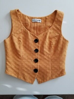 Dolce Gabbana small 6 vest vintage women's mustard yellow mod  size 42 preowned