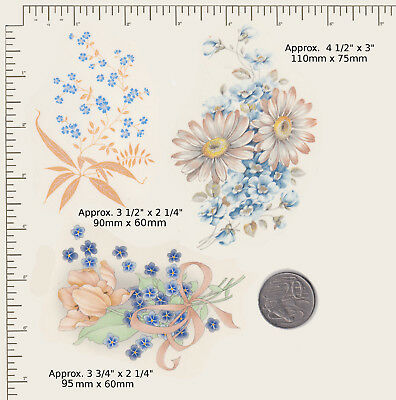 3 x Waterslide ceramic decals Blue / white/ peach floral mix Flowers P38
