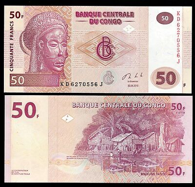 Money World From Congo In Africa, 1 Note Of 50 Francs, P-97, 2017 Unc