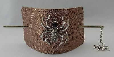 Leather Spider Hair Barrette w/ Silver Hair Stick New Accessories Halloween