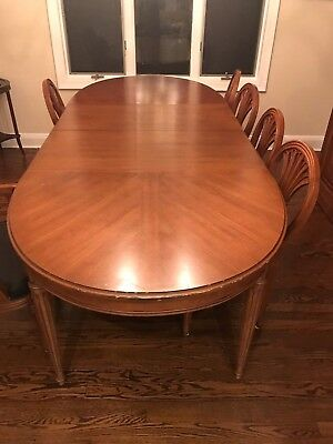 1950's Huge Vintage Henredon Oval Dining Room Set 6 leather chairs