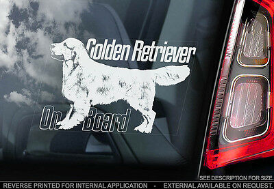 Golden Retriever - Car Window Sticker - Dog Sign -V04