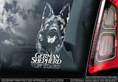 German Shepherd - Car Window Sticker - Alsatian Dog on Board Sign GSD Decal -V07