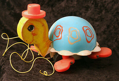 Vintage Fisher Price 1962 Tip Toe Turtle Wooden Pull Toy #773 W/Working Bell