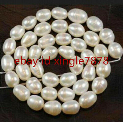 New Real pearl 8-9MM White Freshwater Cultured Pearl Rice Loose Beads 15''AAA