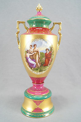 Bloch & Co ? Royal Vienna Style Classical Scene Red Green & Gilt Urn Circa 1900