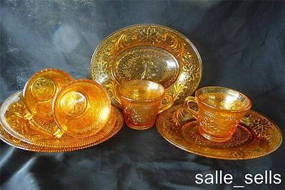 """Vintage Indiana Glass """" Tiara """"tennis Sets  Luncheon Plate / Cup Saucer  4 Sets"""