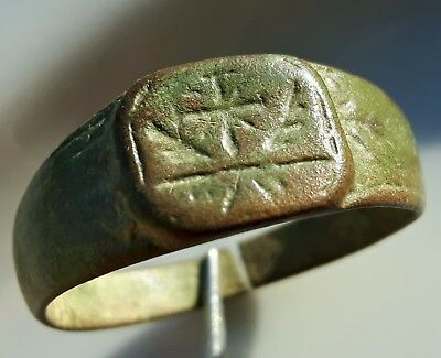Cross & Wings ** Bronze Roman Ring ** Rare Ancient Jewelry
