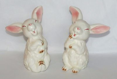 Two Vintage Lefton Easter Bunny Rabbit Figurines  Japan