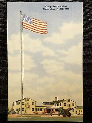 Vintage  Postcard Camp Headquarters Camp Rucker Alabama