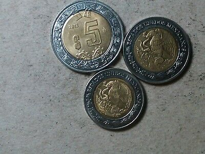 Mexico lot of 1 peso 1996 , 2 , 5 pesos bi-metallic coins 2005 2013