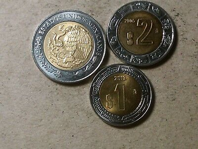 Mexico lot of 1 peso 2013 , 2 , 5 pesos bi-metallic coins 2012 2005