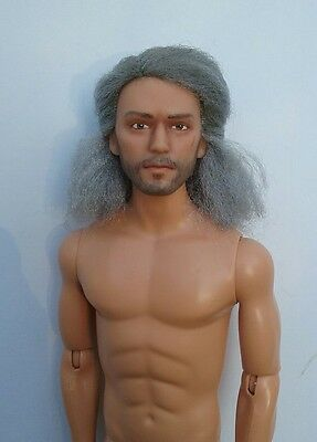 OOAK Wise Warrior Repaint Reroot Ken Doll Old Man Grandpa Gray Hair Barbie