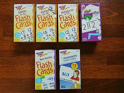 Math & Reading Flash Cards Lot / Multiplication,Division,Addition,Word Families