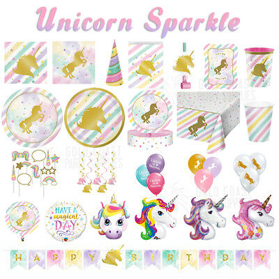Unicorn Sparkle Fantasy Girls Birthday Party Decorations Plate Napkin Balloon