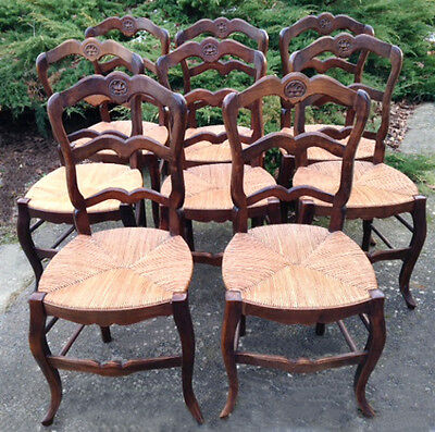 Elegant Set of 8 Louis XV Style Vintage French Dining Chairs with Cane Seats