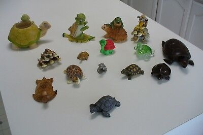 Turtle Figurines Collection Of 15 Turtles Lot Of 15 Different Turtles