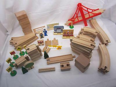 Brio Thomas Melissa & Doug Compatible 83 Pcs Large Lot Of Wooden Train Tracks