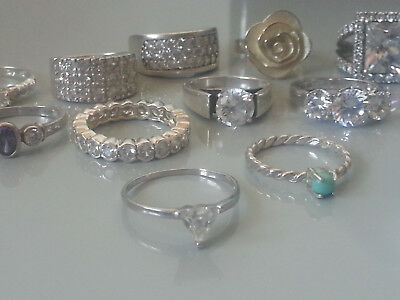 Sterling Silver Ring Lot x 21 Ex. Shop Display Stock - 87.2 grams