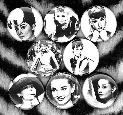Audrey Hepburn set of 8 NEW 1 inch pins buttons badges breakfast at tiffany's