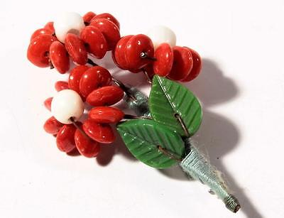 Czech Vintage white red rondelle glass beaded flower leaf bouquet pin brooch