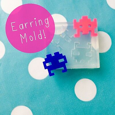 EARRING MOLD - Space Invaders Alien Craft Resin Silicone Earrings Mould
