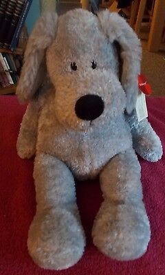 "New Htf Russ Teddy Bear Grey Dog Puppy Schmoozy Plush Soft Toy 14"" Free Uk P&p"