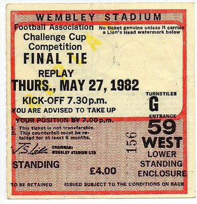 Ticket FA Cup Final  Replay 1982 Spurs v QPR