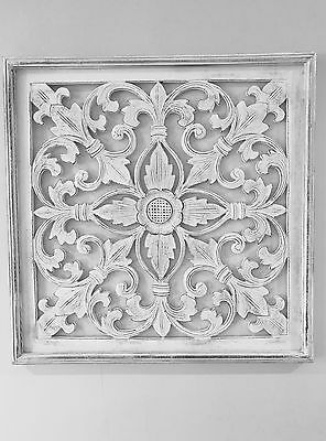 White Wood Carved Wall Art. Panel. 60 x 60cm, Shabby Chic, French, Hamptons,