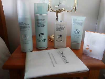 LIZ EARLE 5 PIECE SET & 2 CLOTHES  Cleanse & Polish Skin tonic Eye Lotion Moist