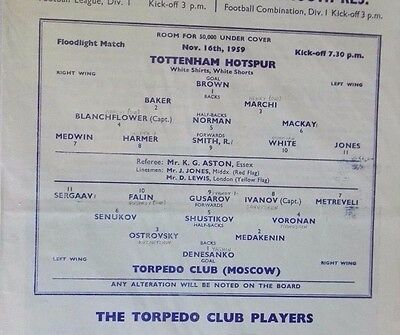 1959-60 TOTTENHAM HOTSPUR vs. TORPEDO MOSCOW (VGC)  NEAT PENCIL SCORES  16TH NOV