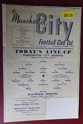 1955-56 MANCHESTER CITY Res. vs.  BLACKPOOL    NoToken - Good condition for age