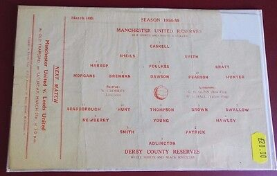 1958-59 MANCHESTER UNITED Reserves vs DERBY CO. No token, good condition for age