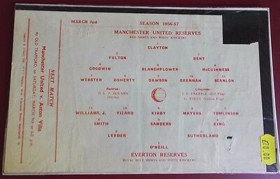 1956-57 MANCHESTER UNITED  Reserves vs EVERTON. No token, good condition for age