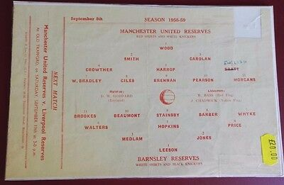 1958-59 MANCHESTER UNITED Reserves vs BARNSLEY  No token, good condition for age