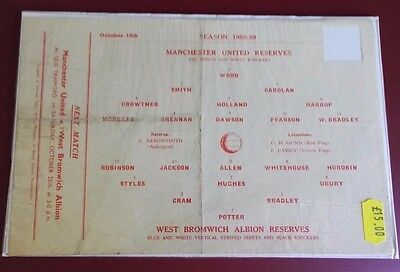 1958-59 MANCHESTER UNITED Reserves vs W.B.A.   No token, good condition for age