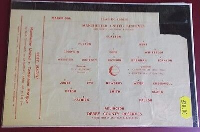1956-57 MANCHESTER UNITED  Reserves vs DERBY C. No token, good condition for age