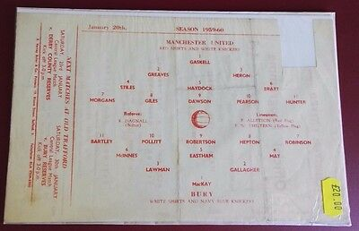 1959-60 MANCHESTER UNITED Reserves vs BURY    No token, good condition for age